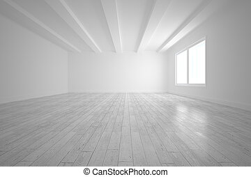 Bright big white room with floorboards