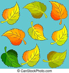 bright birch leaves on a blue background
