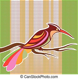 Bright Bird vector illustration with background pop art