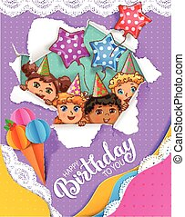 Bright birthday card with cute kids
