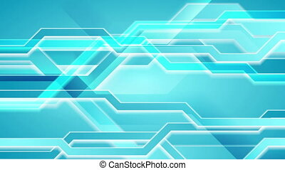 Bright blue abstract hi-tech video animation - Bright blue...