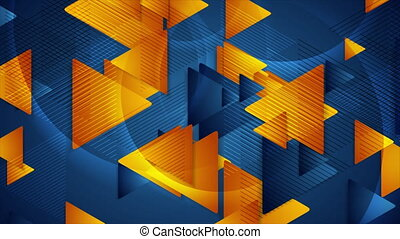 Bright blue and orange glossy triangles abstract geometric motion background. Seamless looping. Video animation Ultra HD 4K 3840x2160