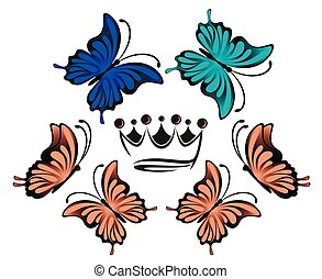 bright blue and pink butterflies and crown on a white background illustration