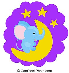 Bright blue baby boy elephant sitting on a moon with shiny stars.
