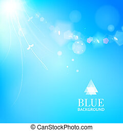 Bright blue background with a leaves glowing - Bokeh. Out of...