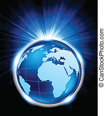 Bright blue background with globe