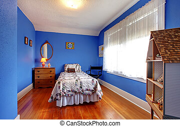 Bright blue bedroom with doll house.