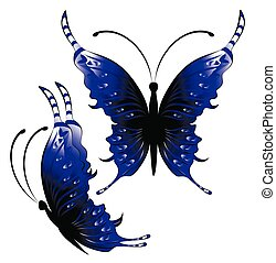 bright blue butterflies on a white background illustration