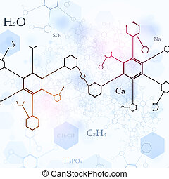 Bright Blue Chemistry Background - abstract blue technlogy...