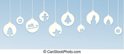 bright blue christmas card with tree balls decoration