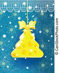 Bright blue Christmas greeting card