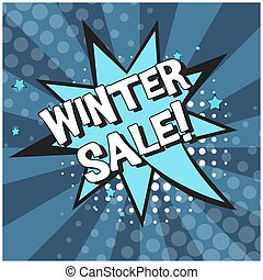Bright blue comic bubble with WINTER SALE text