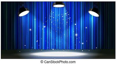 Bright blue curtain with bright spotlight lighting, retro theater stage