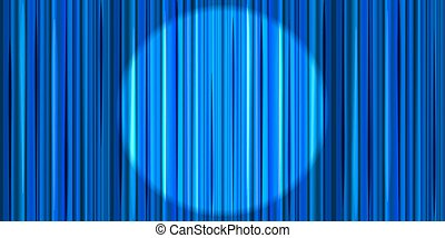Bright blue curtain with round spotlight lighting, retro theater stage background