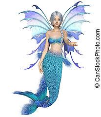 Bright Blue Fantasy Mermaid Fairy, Beckoning