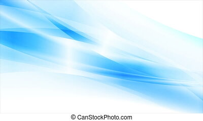 Bright blue glossy flowing waves abstract motion background