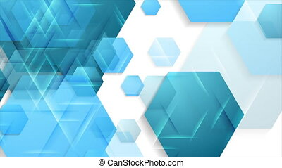 Bright blue glossy hexagons abstract geometric motion background