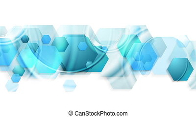 Bright blue glossy hexagons abstract video animation