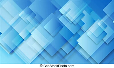 Bright blue glossy squares abstract tech motion background...
