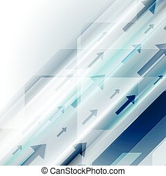 Bright blue hi-tech background with arrows