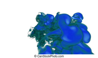 bright blue Ink in water or smoke with alpha mask for motion effects and compositing. Beautiful Ink clouds or smoke move in slow motion with luma matte that very easy to use. Version VFX 13.