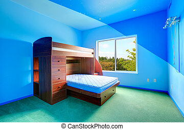 Bright blue kids room with loft bed
