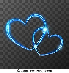 Bright blue light traces in two crossed hearts shape with magic light and sparkles, love concept on transparent