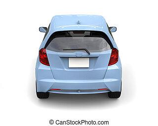 Bright blue modern compact car - back view