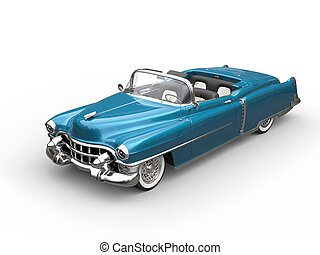 Bright blue oldtimer car - top view