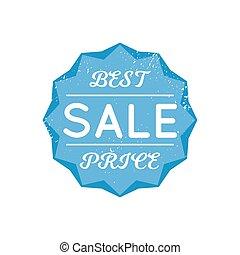 Bright blue retro best price badge sign on white