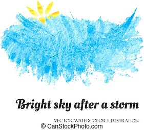 Bright blue sky after a storm, banner concept for business commercial. Vector illustration