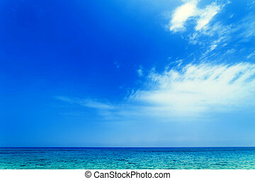 Bright blue sky and tropical sea - beach concept