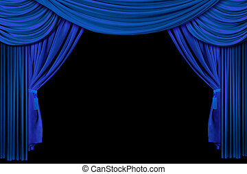 Bright Blue Stage Curtains - Bright Blue Multi Layered...