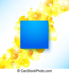 Bright blue summer poster on a shiny cheerful background with place for Your message. Vector image.