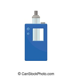 Bright blue vaporizer with small buttons and glass tank. Modern smoking device. Equipment for vaping. Flat vector icon