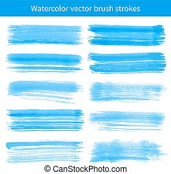 Bright blue watercolor brush vector strokes.