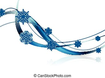 Bright blue waves and snowflakes Christmas background