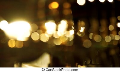 Bright blurred lights at night. Background for hromakey.