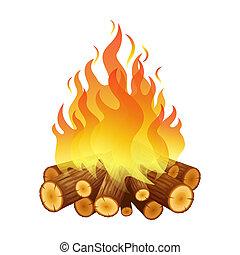 Bright bonfire, burning logs, orange spurts of flame