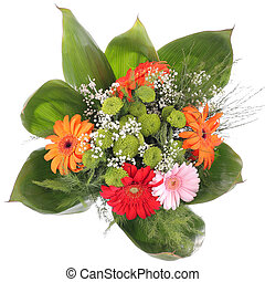Bright bouquet - gerbera. Red, orange, rose, green flower