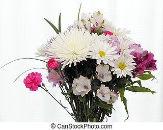 Bright Bouquet of Flowers with Leaves on White