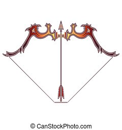 Bright bow and arrow, zodiac Sagittarius sign