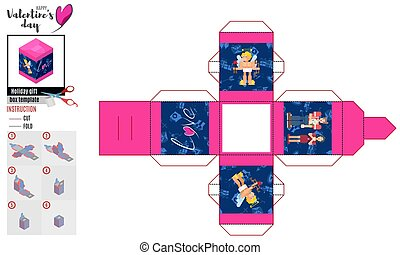 bright box template with a flat pair and cupid