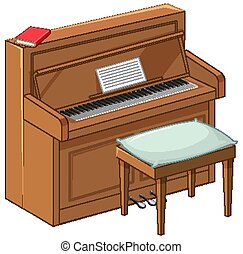 Bright brown piano in cartoon style on white background
