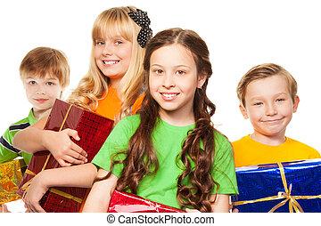 Bright bunch of kids having fun