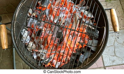 Bright burning hot coal in a grill, in a fire. For the cooking meat.