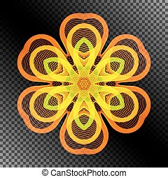 Bright Burning Stylized Flower of the Lines.
