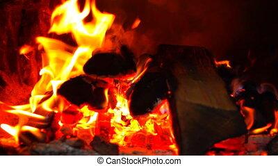 Bright burning wood