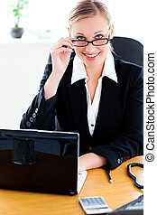 bright businesswoman with glasses