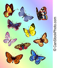 Bright Butterflies - Colorful Butterflies. Digital...